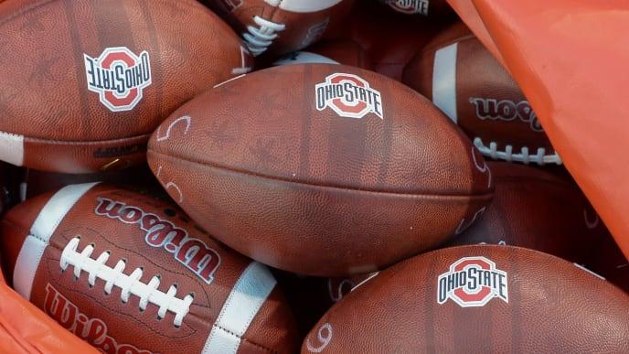 LINCOLN, NE - OCTOBER 14: Footballs for the Ohio State Buckeyes before the game against the Nebraska Cornhuskers at Memorial Stadium on October 14, 2017 in Lincoln, Nebraska. (Photo by Steven Branscombe/Getty Images)