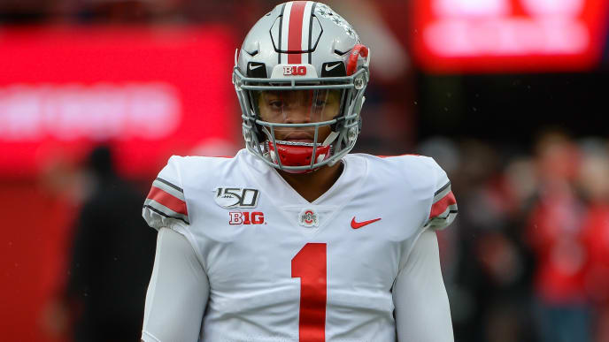 LINCOLN, NE - SEPTEMBER 28: Quarterback Justin Fields #1 of the Ohio State Buckeyes warms up before the game against the Nebraska Cornhuskers at Memorial Stadium on September 28, 2019 in Lincoln, Nebraska. (Photo by Steven Branscombe/Getty Images)
