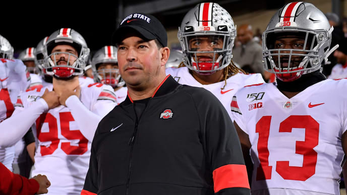 EVANSTON, ILLINOIS - OCTOBER 18: Head coach Ryan Day of the Ohio State Buckeyes and his players prepare to take the field before the game against the Northwestern Wildcats at Ryan Field on October 18, 2019 in Evanston, Illinois. (Photo by Quinn Harris/Getty Images)