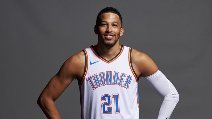 OKLAHOMA CITY, OK - SEPTEMBER 24:  Andre Roberson #21 of the Oklahoma City Thunder poses for a photo during media day at the Chesapeake Energy Arena on September 24, 2018 in Oklahoma City, Oklahoma. NOTE TO USER: User expressly acknowledges and agrees that, by downloading and or using this Photograph, user is consenting to the terms and conditions of the Getty Images License Agreement  (Photo by Cooper Neill/Getty Images)