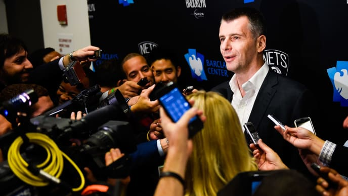 NEW YORK, NY - NOVEMBER 03:  Brooklyn Nets owner Mikhail Prokhorov speaks to the media before a game between the Brooklyn Nets and Oklahoma City Thunder at the Barclays Center on November 3, 2014 in the Brooklyn borough of New York City. NOTE TO USER: User expressly acknowledges and agrees that, by downloading and/or using this photograph, user is consenting to the terms and conditions of the Getty Images License Agreement.  (Photo by Alex Goodlett/Getty Images)