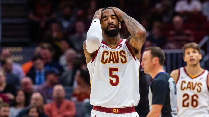 CLEVELAND, OH - NOVEMBER 7: JR Smith #5 of the Cleveland Cavaliers reacts after missing a shot during the first half against the Oklahoma City Thunder at Quicken Loans Arena on November 7, 2018 in Cleveland, Ohio. NOTE TO USER: User expressly acknowledges and agrees that, by downloading and/or using this photograph, user is consenting to the terms and conditions of the Getty Images License Agreement. (Photo by Jason Miller/Getty Images)