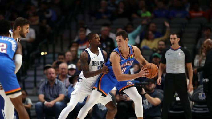 DALLAS, TEXAS - OCTOBER 14:  Danilo Gallinari #8 of the Oklahoma City Thunder during a preseason game at American Airlines Center on October 14, 2019 in Dallas, Texas. (Photo by Ronald Martinez/Getty Images)