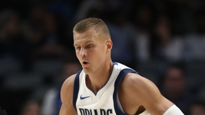 DALLAS, TEXAS - OCTOBER 14:  Kristaps Porzingis #6 of the Dallas Mavericks during a preseason game at American Airlines Center on October 14, 2019 in Dallas, Texas. (Photo by Ronald Martinez/Getty Images)