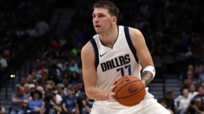 DALLAS, TEXAS - OCTOBER 14:  Luka Doncic #77 of the Dallas Mavericks during a preseason game at American Airlines Center on October 14, 2019 in Dallas, Texas. (Photo by Ronald Martinez/Getty Images)