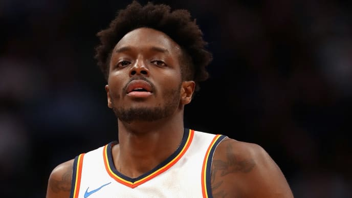 DENVER, COLORADO - DECEMBER 14: Jerami Grant #9 of the Oklahoma City Thunder plays the Denver Nuggets at the Pepsi Center on December 14, 2018 in Denver, Colorado. NOTE TO USER: User expressly acknowledges and agrees that, by downloading and or using this photograph, User is consenting to the terms and conditions of the Getty Images License Agreement.  (Photo by Matthew Stockman/Getty Images)