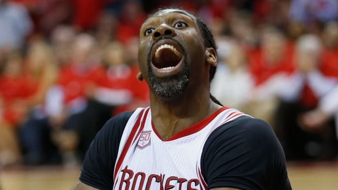HOUSTON, TX - APRIL 25:  Nene Hilario #42 of the Houston Rockets has words with the officials after he was called for a block against the Oklahoma City Thunder during Game Five of the Western Conference Quarterfinals game of the 2017 NBA Playoffs at Toyota Center on April 25, 2017 in Houston, Texas. NOTE TO USER: User expressly acknowledges and agrees that, by downloading and/or using this photograph, user is consenting to the terms and conditions of the Getty Images License Agreement.  (Photo by Bob Levey/Getty Images)