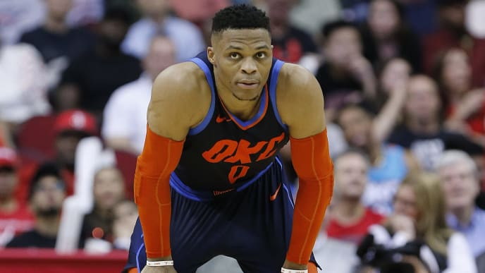HOUSTON, TEXAS - DECEMBER 25: Russell Westbrook #0 of the Oklahoma City Thunder takes a moment between possessions against the Houston Rockets during the fourth quarter at Toyota Center on December 25, 2018 in Houston, Texas. NOTE TO USER: User expressly acknowledges and agrees that, by downloading and or using this photograph, User is consenting to the terms and conditions of the Getty Images License Agreement. (Photo by Bob Levey/Getty Images)