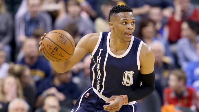 INDIANAPOLIS, IN - MARCH 19:  Russell Westbrook #0 of the Oklahoma City Thunder dribbles the ball during the 115-111 win over the Indiana Pacers at Bankers Life Fieldhouse on March 19, 2016 in Indianapolis, Indiana.   NOTE TO USER: User expressly acknowledges and agrees that, by downloading and or using this photograph, User is consenting to the terms and conditions of the Getty Images License Agreement.  (Photo by Andy Lyons/Getty Images)