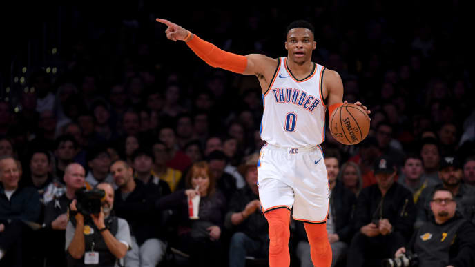 LOS ANGELES, CALIFORNIA - JANUARY 02:  Russell Westbrook #0 of the Oklahoma City Thunder directs a play during a 107-100 win over the Los Angeles Lakers at Staples Center on January 02, 2019 in Los Angeles, California.  NOTE TO USER: User expressly acknowledges and agrees that, by downloading and or using this photograph, User is consenting to the terms and conditions of the Getty Images License Agreement. (Photo by Harry How/Getty Images)