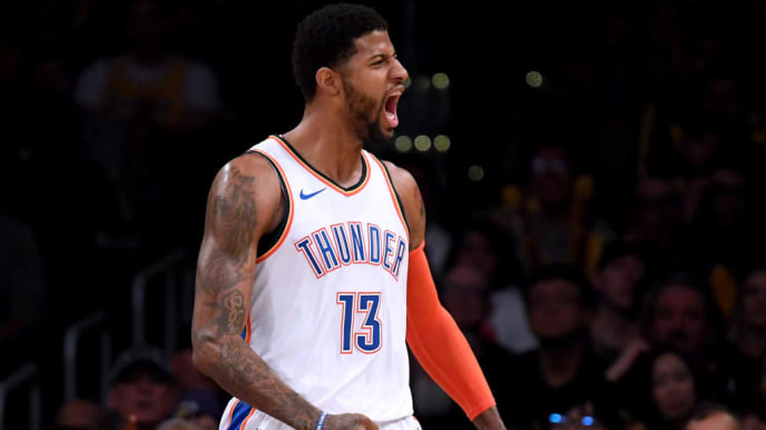 LOS ANGELES, CALIFORNIA - JANUARY 02:  Paul George #13 of the Oklahoma City Thunder celebrates his alley oop dunk during a 107-100 win over the Los Angeles Lakers at Staples Center on January 02, 2019 in Los Angeles, California.  NOTE TO USER: User expressly acknowledges and agrees that, by downloading and or using this photograph, User is consenting to the terms and conditions of the Getty Images License Agreement. (Photo by Harry How/Getty Images)