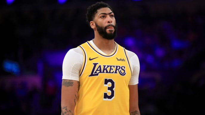 LOS ANGELES, CALIFORNIA - NOVEMBER 19:  Anthony Davis #3 of the Los Angeles Lakers looks on during the first half of a game against the Oklahoma City Thunder at Staples Center on November 19, 2019 in Los Angeles, California.  NOTE TO USER: User expressly acknowledges and agrees that, by downloading and/or using this photograph, user is consenting to the terms and conditions of the Getty Images License Agreement (Photo by Sean M. Haffey/Getty Images)