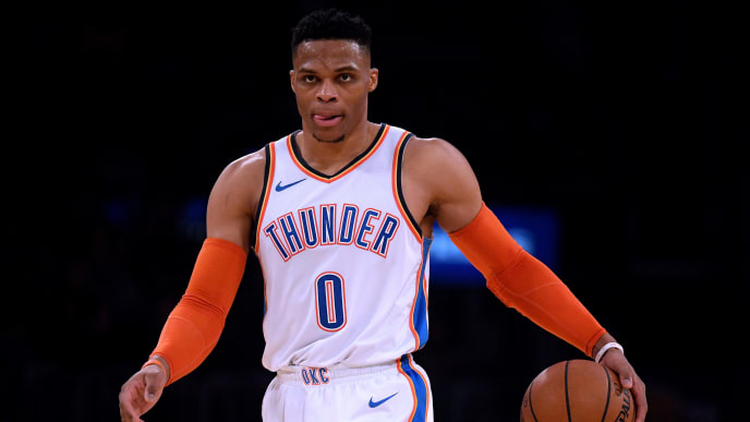 LOS ANGELES, CALIFORNIA - JANUARY 02:  Russell Westbrook #0 of the Oklahoma City Thunder dribbles the ball up court during a 107-100 win over the Los Angeles Lakers at Staples Center on January 02, 2019 in Los Angeles, California.  NOTE TO USER: User expressly acknowledges and agrees that, by downloading and or using this photograph, User is consenting to the terms and conditions of the Getty Images License Agreement. (Photo by Harry How/Getty Images)