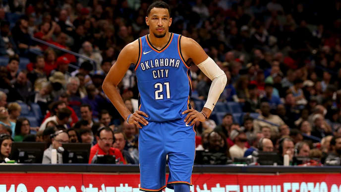 NEW ORLEANS, LA - NOVEMBER 20:  Andre Roberson #21 of the Oklahoma City Thunder stands in front of a www.550716.com sign during a NBA game against the New Orleans Pelicans at the Smoothie King Center on November 20, 2017 in New Orleans, Louisiana. The New Orleans Pelicans won the game 114 - 107. NOTE TO USER: User expressly acknowledges and agrees that, by downloading and or using this photograph, User is consenting to the terms and conditions of the Getty Images License Agreement.  (Photo by Sean Gardner/Getty Images)