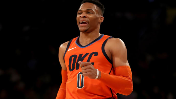 NEW YORK, NEW YORK - JANUARY 21:   Russell Westbrook #0 of the Oklahoma City Thunder celebrates his shot in the first half against the New York Knicks at Madison Square Garden on January 21, 2019 in New York City.NOTE TO USER: User expressly acknowledges and agrees that, by downloading and or using this photograph, User is consenting to the terms and conditions of the Getty Images License Agreement.  (Photo by Elsa/Getty Images)