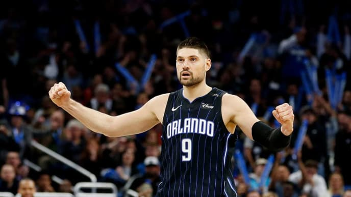 ORLANDO, FLORIDA - JANUARY 29:  Nikola Vucevic #9 of the Orlando Magic reacts against the Oklahoma City Thunder during the second half at Amway Center on January 29, 2019 in Orlando, Florida. NOTE TO USER: User expressly acknowledges and agrees that, by downloading and or using this photograph, User is consenting to the terms and conditions of the Getty Images License Agreement. (Photo by Michael Reaves/Getty Images)