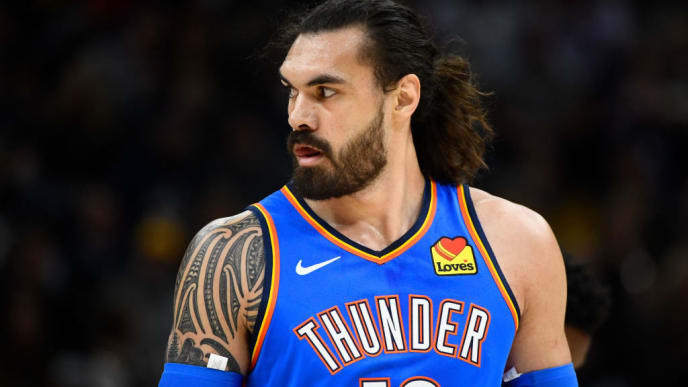 SALT LAKE CITY, UT - OCTOBER 23:  Steven Adams #12 of the Oklahoma City Thunder looks on during a opening night game against the Utah Jazz at Vivint Smart Home Arena on October 23, 2019 in Salt Lake City, Utah. NOTE TO USER: User expressly acknowledges and agrees that, by downloading and or using this photograph, User is consenting to the terms and conditions of the Getty Images License Agreement.  (Photo by Alex Goodlett/Getty Images)