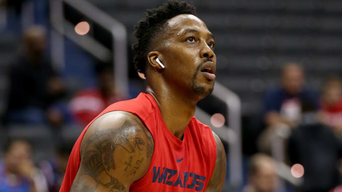 WASHINGTON, DC - NOVEMBER 02: Dwight Howard #21 of the Washington Wizards warms up before the game against the Oklahoma City Thunder at Capital One Arena on November 2, 2018 in Washington, DC. NOTE TO USER: User expressly acknowledges and agrees that, by downloading and or using this photograph, User is consenting to the terms and conditions of the Getty Images License Agreement. (Photo by Will Newton/Getty Images)