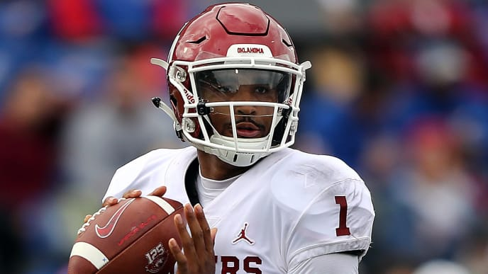 LAWRENCE, KANSAS - OCTOBER 05:  Quarterback Jalen Hurts #1 of the Oklahoma Sooners looks to pass during the game against the Kansas Jayhawks at Memorial Stadium on October 05, 2019 in Lawrence, Kansas. (Photo by Jamie Squire/Getty Images)
