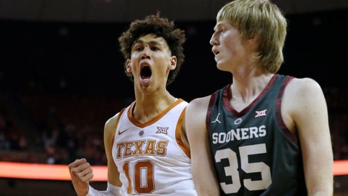 AUSTIN, TEXAS - JANUARY 19: Jaxson Hayes #10 of the Texas Longhorns reacts as Brady Manek #35 of the Oklahoma Sooners walks by during second half action at The Frank Erwin Center on January 19, 2019 in Austin, Texas. (Photo by Chris Covatta/Getty Images)