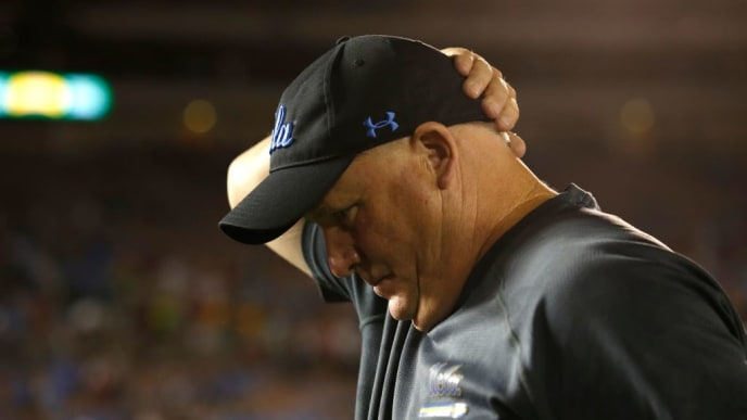 LOS ANGELES, CALIFORNIA - SEPTEMBER 14:  Head coach Chip Kelly of the UCLA Bruins walks off the field after being defeated by the Oklahoma Sooners 48-14 in a game  at the Rose Bowl on September 14, 2019 in Los Angeles, California. (Photo by Sean M. Haffey/Getty Images)