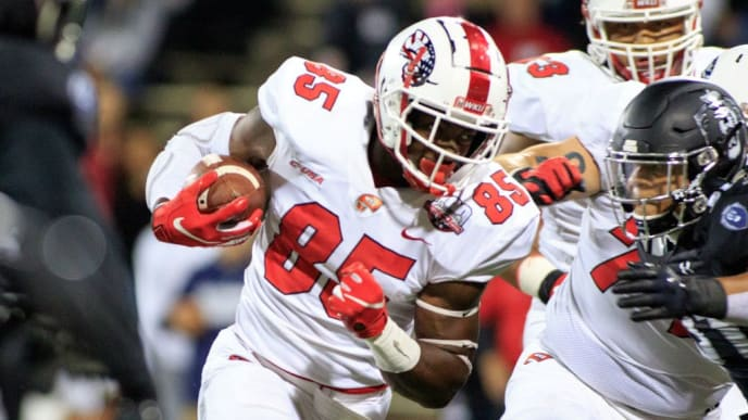 BOWLING GREEN, KY - OCTOBER 20: Mik'Quan Deane #85 of the Western Kentucky Hilltoppers runs the ball in the game against the Old Dominion Monarchs on October 20, 2018 in Bowling Green, Kentucky. (Photo by Justin Casterline/Getty Images)