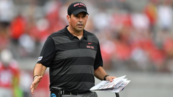 COLUMBUS, OH - SEPTEMBER 1:  Acting Head Coach Ryan Day of the Ohio State Buckeyes watches his team from the sidelines in the fourth quarter against the Oregon State Beavers at Ohio Stadium on September 1, 2018 in Columbus, Ohio. Ohio State defeated Oregon State 77-31.  (Photo by Jamie Sabau/Getty Images)