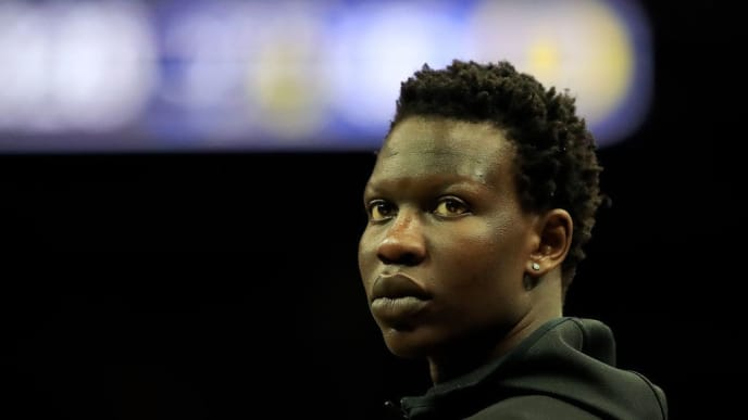 LOUISVILLE, KENTUCKY - MARCH 28:  Bol Bol #1 of the Oregon Ducks looks on from the bench against the Virginia Cavaliers during the second half of the 2019 NCAA Men's Basketball Tournament South Regional at the KFC YUM! Center on March 28, 2019 in Louisville, Kentucky. (Photo by Andy Lyons/Getty Images)