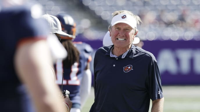 ATLANTA, GEORGIA - MARCH 23: Head coach Steve Spurrier of the Orlando Apollos reacts during an Alliance of American Football game against the Atlanta Legends at Georgia State Stadium on March 23, 2019 in Atlanta, Georgia. (Photo by Chris Thelen/AAF/Getty Images)