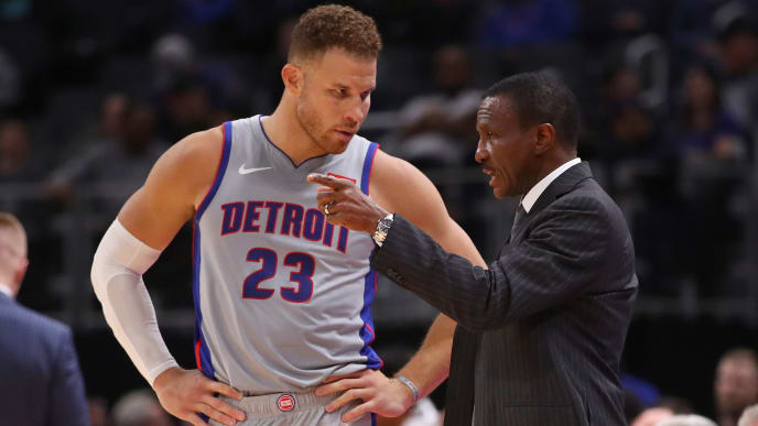 DETROIT, MICHIGAN - NOVEMBER 25: Head coach Dwane Casey of the Detroit Pistons talks to Blake Griffin #23 in the second half while playing the Orlando Magic at Little Caesars Arena on November 25, 2019 in Detroit, Michigan. NOTE TO USER: User expressly acknowledges and agrees that, by downloading and or using this photograph, User is consenting to the terms and conditions of the Getty Images License Agreement. (Photo by Gregory Shamus/Getty Images)