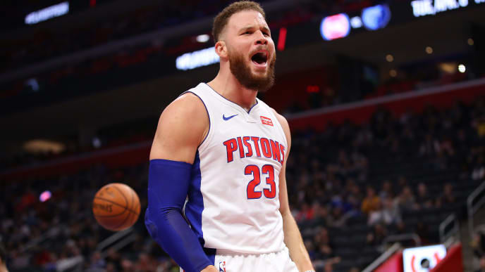 DETROIT, MICHIGAN - MARCH 28:  Blake Griffin #23 of the Detroit Pistons reacts after a second half basket while playing the Orlando Magic at Little Caesars Arena on March 28, 2019 in Detroit, Michigan. Detroit won the game 115-98. NOTE TO USER: User expressly acknowledges and agrees that, by downloading and or using this photograph, User is consenting to the terms and conditions of the Getty Images License Agreement. (Photo by Gregory Shamus/Getty Images)