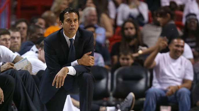 MIAMI, FL - APRIL 13: Head coach Erik Spoelstra of the Miami Heat looks on during a game against the Orlando Magic at American Airlines Arena on April 13, 2015 in Miami, Florida. NOTE TO USER: User expressly acknowledges and agrees that, by downloading and/or using this photograph, user is consenting to the terms and conditions of the Getty Images License Agreement. Mandatory copyright notice:  (Photo by Mike Ehrmann/Getty Images)