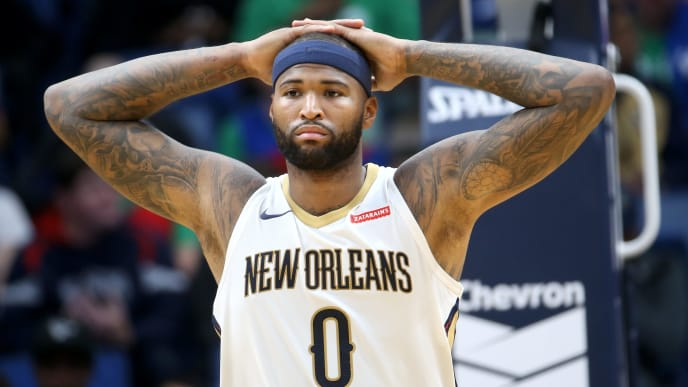 NEW ORLEANS, LA - OCTOBER 30:  DeMarcus Cousins #0 of the New Orleans Pelicans reacts during the game against the Orlando Magic at the Smoothie King Center on October 30, 2017 in New Orleans, Louisiana. NOTE TO USER: User expressly acknowledges and agrees that, by downloading and or using this photograph, User is consenting to the terms and conditions of the Getty Images License Agreement.  (Photo by Chris Graythen/Getty Images)