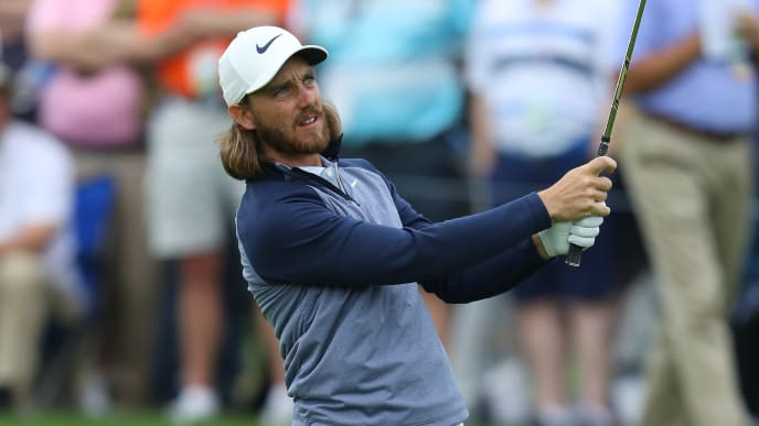 FARMINGDALE, NEW YORK - MAY 17: Tommy Fleetwood of England plays his second shot on the first hole during the second round of the 2019 PGA Championship at the Bethpage Black course on May 17, 2019 in Farmingdale, New York. (Photo by Warren Little/Getty Images)
