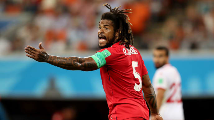 SARANSK, RUSSIA - JUNE 28: Roman Torres of Panama during the 2018 FIFA World Cup Russia group G match between Panama and Tunisia at Mordovia Arena on June 28, 2018 in Saransk, Russia. (Photo by Catherine Ivill/Getty Images)