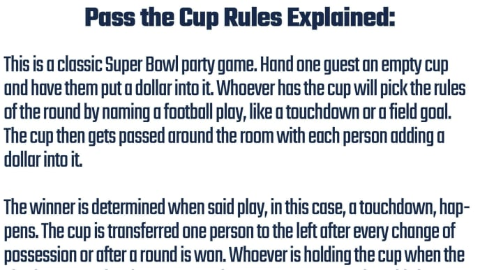 Rules for Pass the Cup game to be played at Super Bowl 54 parties.