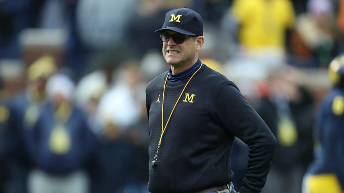ANN ARBOR, MI - NOVEMBER 03: Michigan Wolverines Head football coach Jim Harbaugh watches the pregame warms ups prior to the start of the game against the Penn State Nittany Lions at Michigan Stadium on November 3, 2018 in Ann Arbor, Michigan. (Photo by Leon Halip/Getty Images)