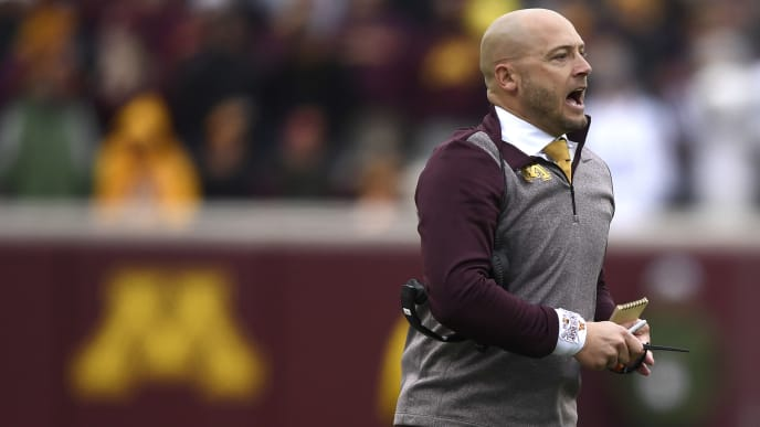 MINNEAPOLIS, MINNESOTA - NOVEMBER 09: Head coach P.J. Fleck of the Minnesota Golden Gophers looks on against the Penn State Nittany Lions during the third quarter at TCFBank Stadium on November 09, 2019 in Minneapolis, Minnesota. (Photo by Hannah Foslien/Getty Images)