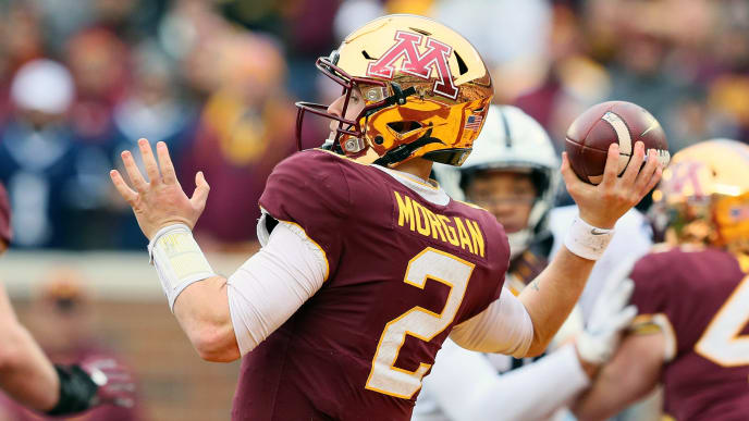 MINNEAPOLIS, MN - NOVEMBER 09: Tanner Morgan #2 of the Minnesota Golden Gophers throws the ball for a gain in the fourth quarter against the Penn State Nittany Lions at TCFBank Stadium on November 9, 2019 in Minneapolis, Minnesota.  The Minnesota Golden Gophers defeated the Penn State Nittany Lions 31-26 to remain undefeated.(Photo by Adam Bettcher/Getty Images)