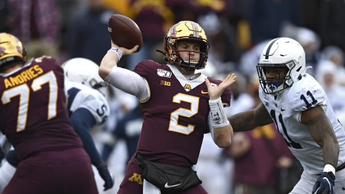 MINNEAPOLIS, MINNESOTA - NOVEMBER 09: Quarterback Tanner Morgan #2 of the Minnesota Golden Gophers looks to pass against the Penn State Nittany Lions during the third quarter at TCFBank Stadium on November 09, 2019 in Minneapolis, Minnesota. (Photo by Hannah Foslien/Getty Images)