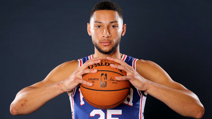 CAMDEN, NEW JERSEY - SEPTEMBER 30:  Ben Simmons #25 of the Philadelphia 76ers poses for a portrait during Media Day at 76ers Training Complex on September 30, 2019 in Camden, New Jersey.NOTE TO USER: User expressly acknowledges and agrees that, by downloading and/or using this photograph, user is consenting to the terms and conditions of the Getty Images License Agreement. (Photo by Elsa/Getty Images)