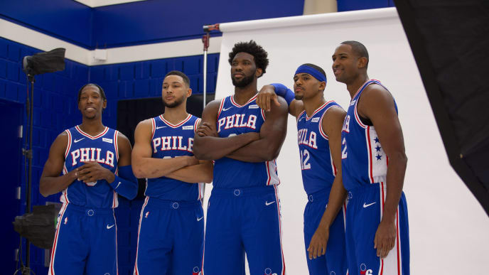 CAMDEN, NJ - SEPTEMBER 30: Josh Richardson #0, Ben Simmons #25, Joel Embiid #21, Tobias Harris #12, and Al Horford #42 of the Philadelphia 76ers pose for a photo during the Philadelphia 76ers media day at the 76ers Training Complex on September 30, 2019 in Camden, New Jersey. NOTE TO USER: User expressly acknowledges and agrees that, by downloading and or using this photograph, User is consenting to the terms and conditions of the Getty Images License Agreement. (Photo by Mitchell Leff/Getty Images)