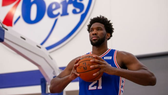 CAMDEN, NJ - SEPTEMBER 30: Joel Embiid #21 of the Philadelphia 76ers poses for a portrait during the Philadelphia 76ers media day at the 76ers Training Complex on September 30, 2019 in Camden, New Jersey. NOTE TO USER: User expressly acknowledges and agrees that, by downloading and or using this photograph, User is consenting to the terms and conditions of the Getty Images License Agreement. (Photo by Mitchell Leff/Getty Images)