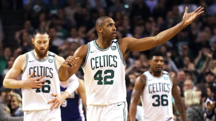 BOSTON, MA - MAY 9: Al Horford #42 of the Boston Celtics signals to fans during Game Five of the Eastern Conference Second Round of the 2018 NBA Playoffs against the Philadelphia 76ers at TD Garden on May 9, 2018 in Boston, Massachusetts. (Photo by Maddie Meyer/Getty Images)