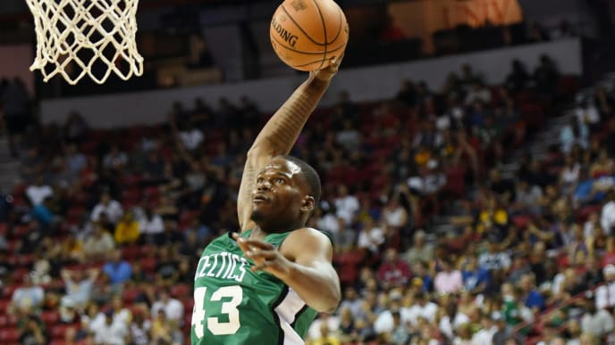 LAS VEGAS, NEVADA - JULY 06:  Javonte Green #43 of the Boston Celtics dunks against the Philadelphia 76ers during the 2019 NBA Summer League at the Thomas & Mack Center on July 6, 2019 in Las Vegas, Nevada. NOTE TO USER: User expressly acknowledges and agrees that, by downloading and or using this photograph, User is consenting to the terms and conditions of the Getty Images License Agreement.  (Photo by Ethan Miller/Getty Images)