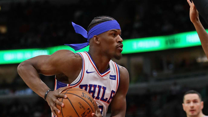 CHICAGO, ILLINOIS - MARCH 06: Jimmy Butler #23 of the Philadelphia 76ers moves against the Chicago Bulls at the United Center on March 06, 2019 in Chicago, Illinois. NOTE TO USER: User expressly acknowledges and agrees that, by downloading and or using this photograph, User is consenting to the terms and conditions of the Getty Images License Agreement. (Photo by Jonathan Daniel/Getty Images)