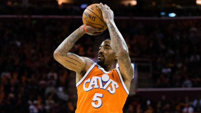 CLEVELAND, OH - MARCH 31: JR Smith #5 of the Cleveland Cavaliers shoots during the second half against the Philadelphia 76ers at Quicken Loans Arena on March 31, 2017 in Cleveland, Ohio. The Cavaliers defeated the 76ers 122-105. NOTE TO USER: User expressly acknowledges and agrees that, by downloading and/or using this photograph, user is consenting to the terms and conditions of the Getty Images License Agreement. (Photo by Jason Miller/Getty Images)