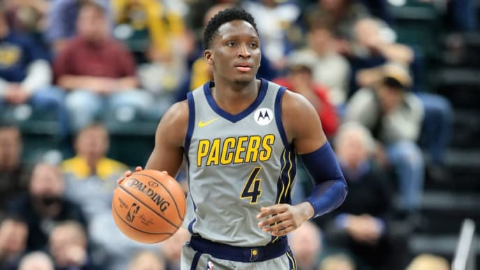 INDIANAPOLIS, IN - JANUARY 17:  Victor Oladipo #4 of the Indiana Pacers dribbles the ball against the Philadelphia 76ers at Bankers Life Fieldhouse on January 17, 2019 in Indianapolis, Indiana.   NOTE TO USER: User expressly acknowledges and agrees that, by downloading and or using this photograph, User is consenting to the terms and conditions of the Getty Images License Agreement.  (Photo by Andy Lyons/Getty Images)