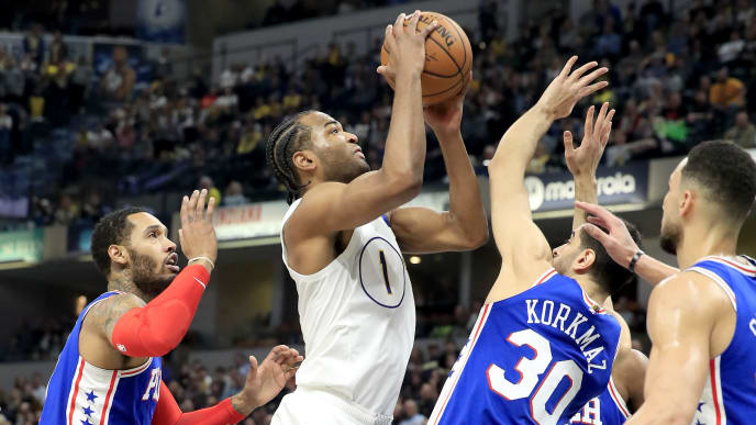 The Pacers' T.J. Warren attempts a contested shot against the Philadelphia 76ers