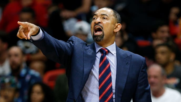 MIAMI, FL - NOVEMBER 12:  Assistant coach Juwan Howard of the Miami Heat in action against the Philadelphia 76ers during the second half at American Airlines Arena on November 12, 2018 in Miami, Florida. NOTE TO USER: User expressly acknowledges and agrees that, by downloading and or using this photograph, User is consenting to the terms and conditions of the Getty Images License Agreement.  (Photo by Michael Reaves/Getty Images)